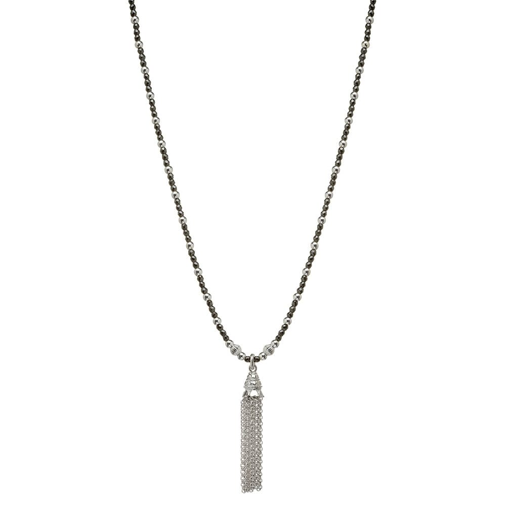 Sterling silver necklaces annie haak hematite and silver tassel necklace aloadofball Images