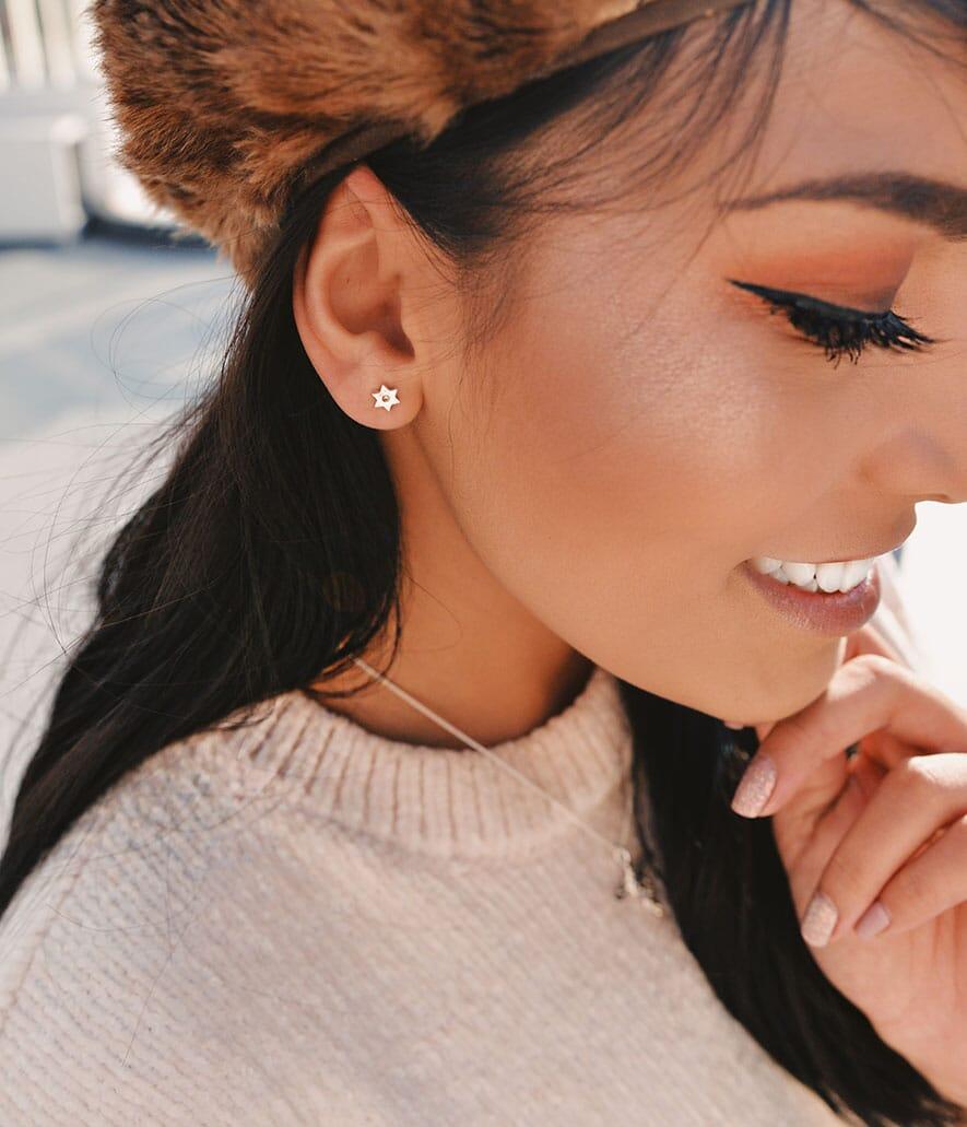 Free Sparkling Silver Star Earrings