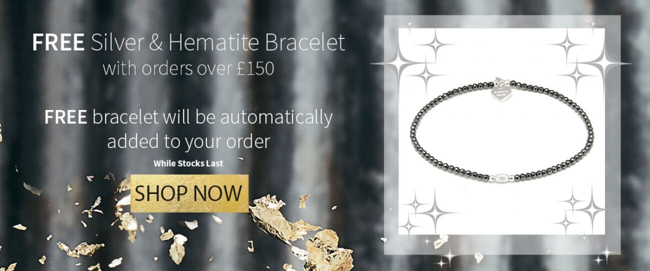 FREE SILVER AND HEMATITE BRACELET