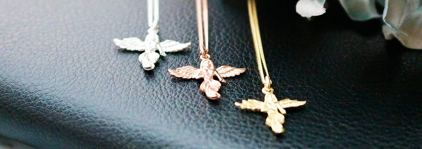 Annie's Angels, Itsy Bitsy My Guardian Angel Necklaces, silver, gold and rose gold