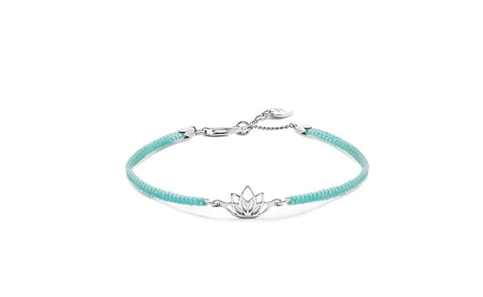 Lotus Flower Silver Friendship Bracelet - Turquoise