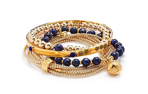 Lapis Lazuli Gold Bracelet Stack
