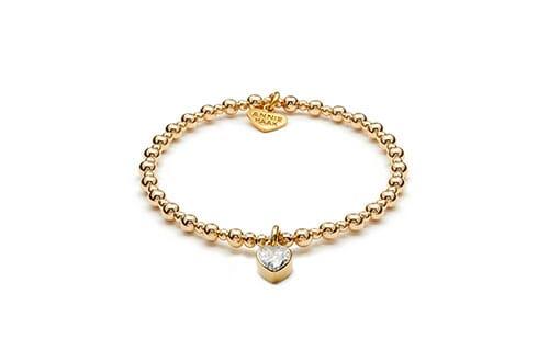 Mini Orchid Gold Charm Bracelet - Crystal Heart