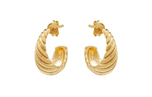 Retro Hoop Gold Earrings
