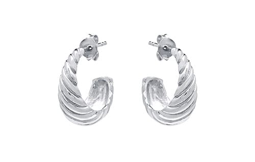 Retro Hoop Silver Earrings