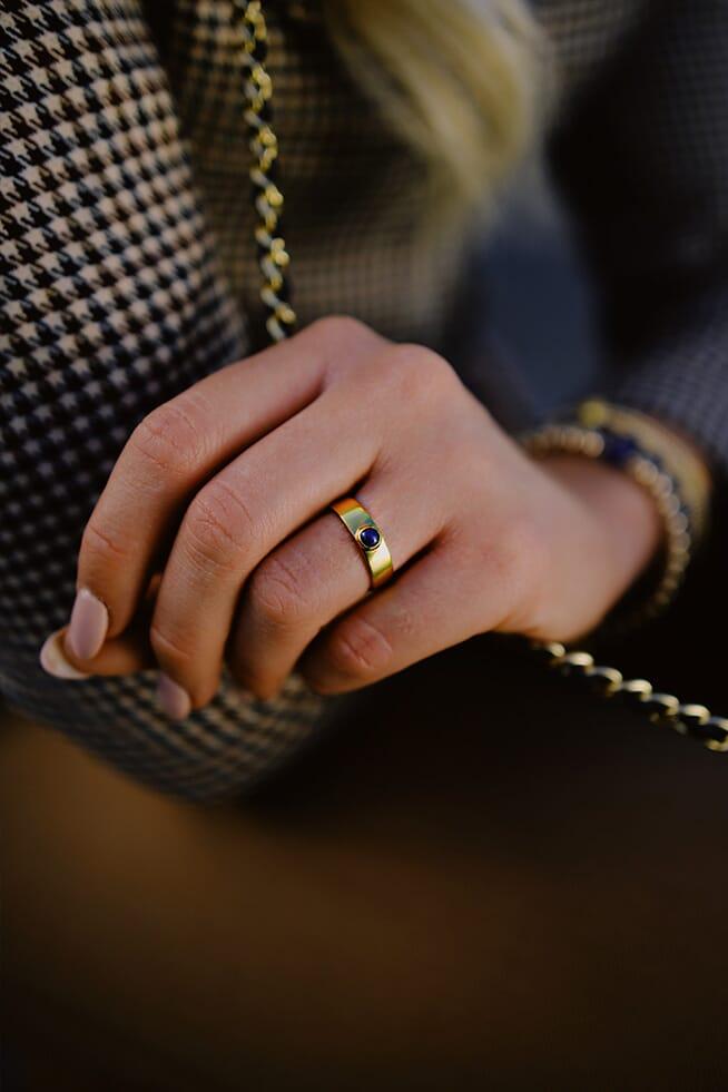 Samara Gold Ring - Lapis Lazuli