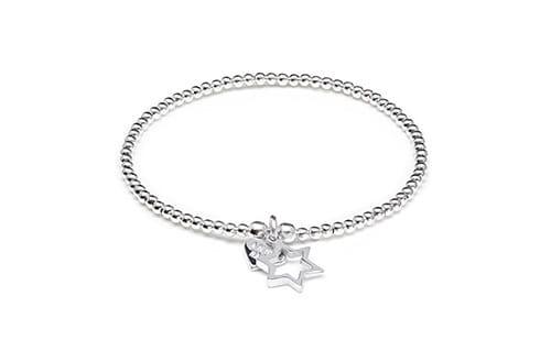 Santeenie Silver Charm Bracelet - Open Star