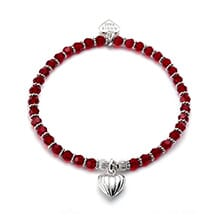 LIMITED EDITION RUBY RED SWAROVSKI SILVER CHARM BRACELET