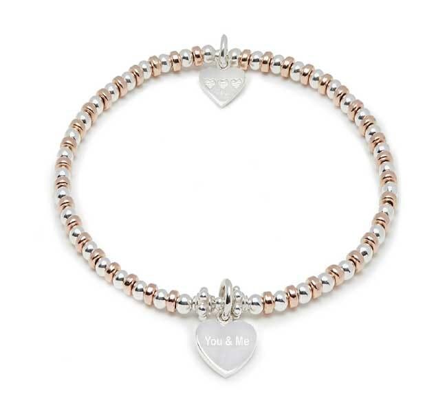 Ali Rose Gold Charm Bracelet - You & Me