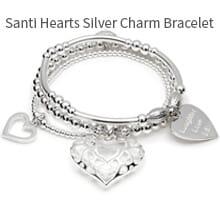 Santi Hearts Silver Charm Bracelet