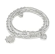 MOTHER'S DAY POSY OF FLOWERS SILVER CHARM BRACELET