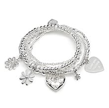 BUNCH OF FLOWERS SILVER CHARM BRACELET