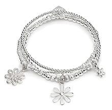 Tiny Bunch of Flowers silver Charm Bracelet