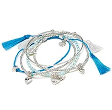 LUCCA SILVER FRIENDSHIP BRACELET STACK
