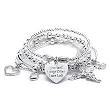 Sama My Guardian Angel Silver Charm Bracelet
