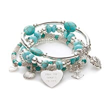 RIDE THE WAVES SILVER CHARM BRACELET