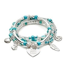 TRANQUIL TURQUOISE SILVER CHARM BRACELET