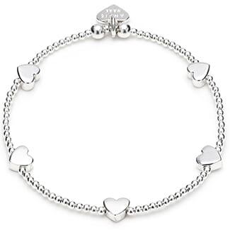 Dainty Silver Boxed Heart Bracelet