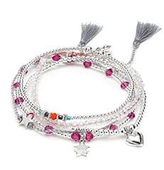 Capella Silver Charm Bracelet Stack