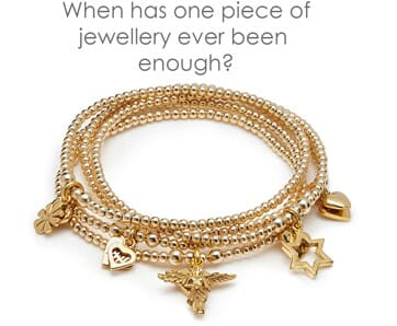 Mira gold charm bracelet stack