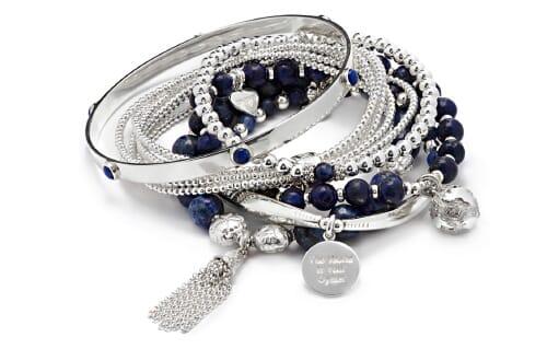 Lapis Lazuli Silver Bracelet Stack