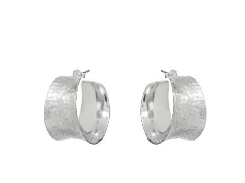 Raya Hammered Matt Silver Earrings