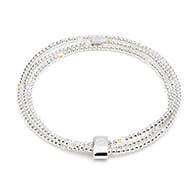 Blissful Swarovski Heart Crystal Silver Looped Bracelet