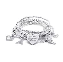 SAMA MY GUARDIAN ANGEL SILVER CHARM BRACELET