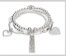 Santi tassel silver charm bracelet