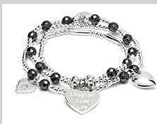 Suka Hematite silver charm bracelet