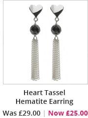 Heart Tassel Hematite Earring
