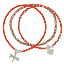 Ria Trio 3 Strand Hot Orange Bracelet